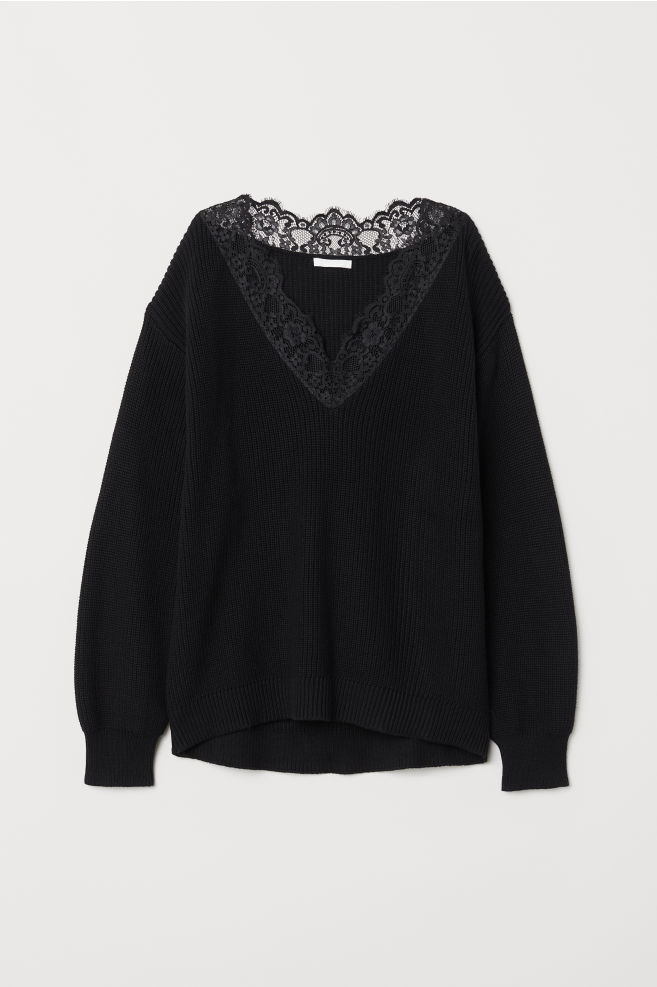 359ee4f9681c Knit Sweater with Lace - Black - Ladies