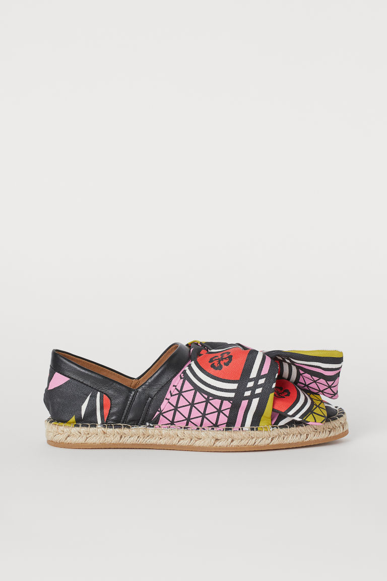 Fold-heel Espadrilles - Pink/black patterned - Ladies | H&M US
