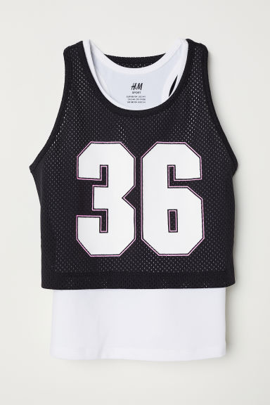 Double-layered sports top - Black/White - Kids | H&M