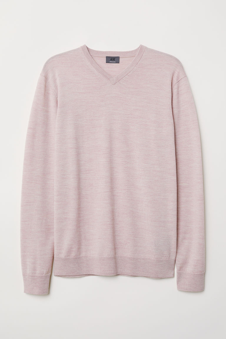 V-neck merino wool jumper - Light pink marl - Men | H&M