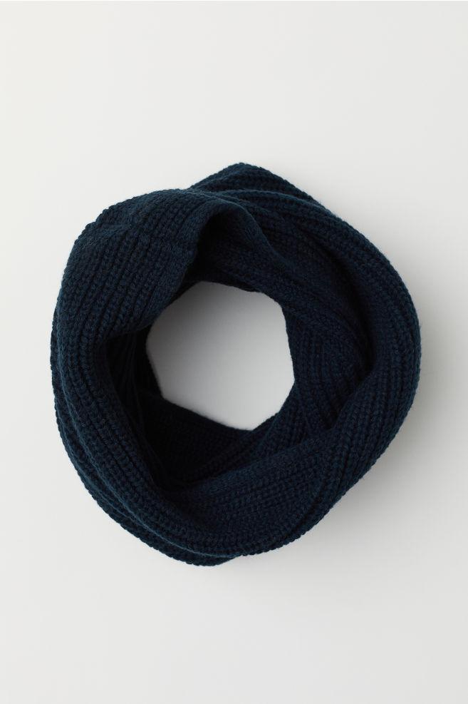 53afe134d0c Ribbed tube scarf - Dark blue - Men