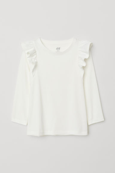 Frill-trimmed jersey top - White - Kids | H&M CN