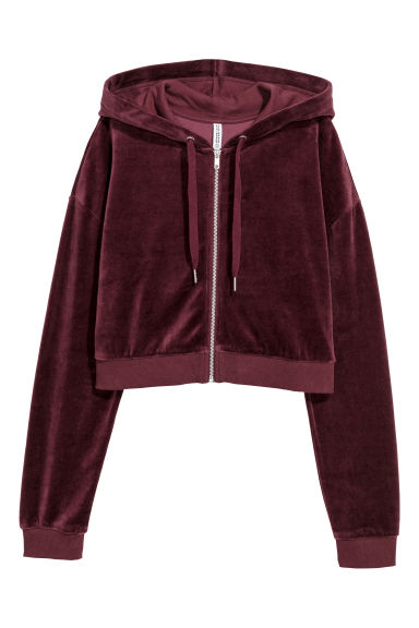Cropped hooded velour jacket - Burgundy - Ladies | H&M GB