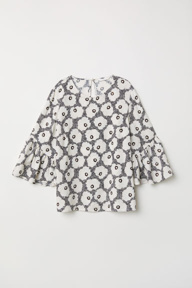 Trumpet-sleeved blouse - Black/Floral - Ladies | H&M