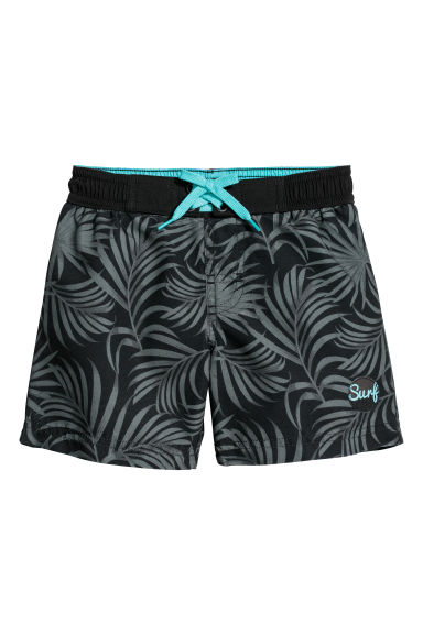 Patterned swim shorts - Black/Leaves -  | H&M CN