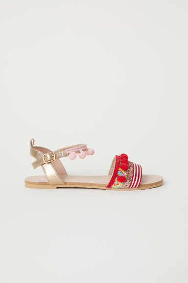 Sandals with pompoms - Gold-coloured/Red -  | H&M
