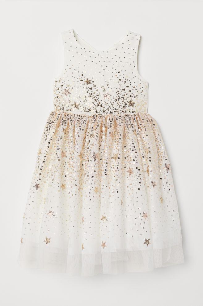 1a776c43a4 Tiulowa sukienka z cekinami - Biały - Dziecko