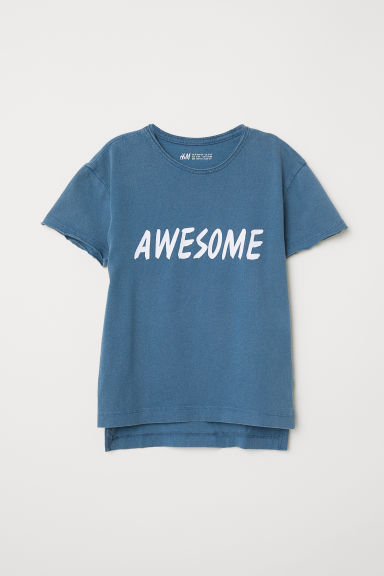 Cotton T-shirt - Blue/Awesome - Kids | H&M CN