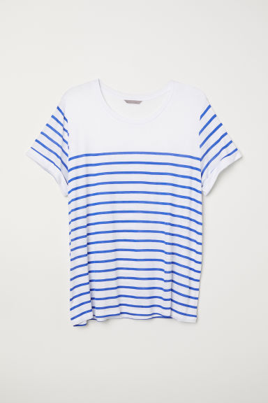 H&M+ Jersey top - White/Blue striped - Ladies | H&M