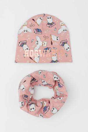 H&M 키즈 해리포터 모자, 스누드 스카프 Hat and Tube Scarf,Light pink/patterned