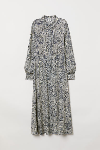 Calf-length shirt dress - Blue/Patterned - Ladies | H&M GB