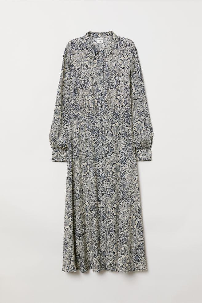 Longue robe chemise - Bleu/motif - FEMME | H&M FR 5