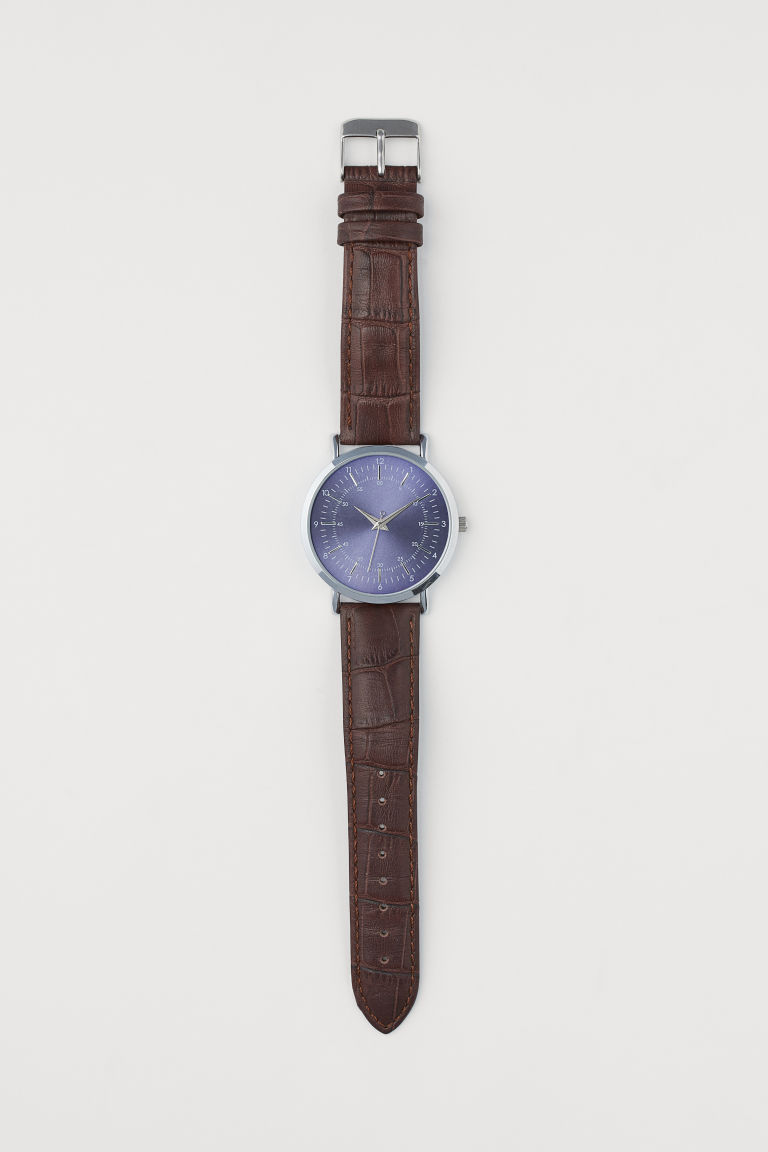 Watch with a leather strap - Brown/Dark blue - Men | H&M GB