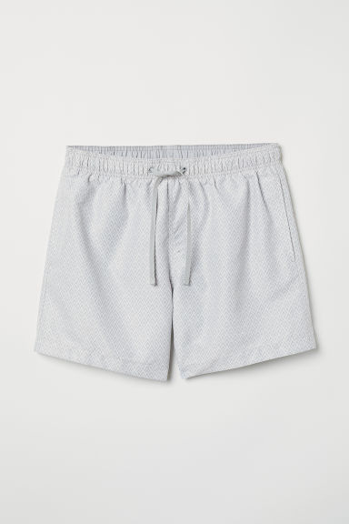 Swim shorts - Light grey/White patterned -  | H&M