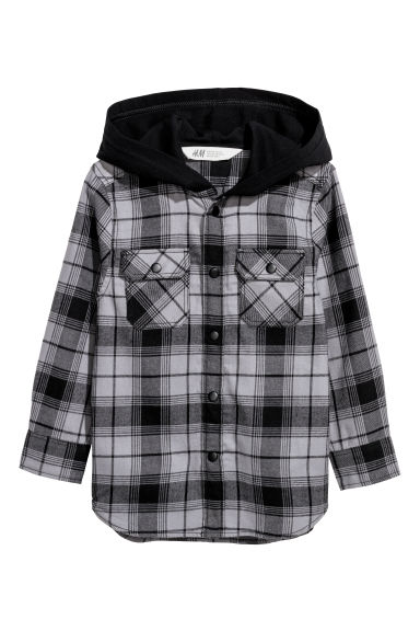 Hooded flannel shirt - Grey/Black checked -  | H&M