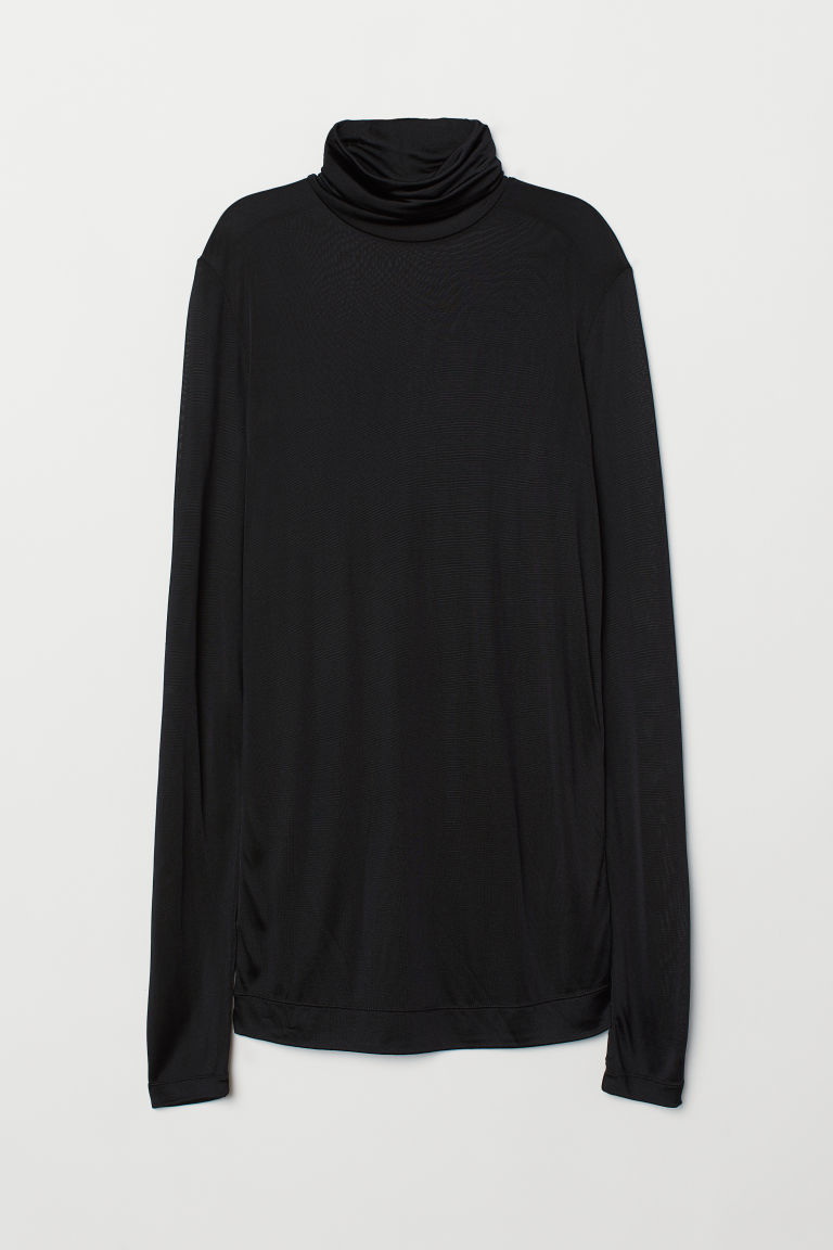 Silk-blend polo-neck top - Black - Ladies | H&M