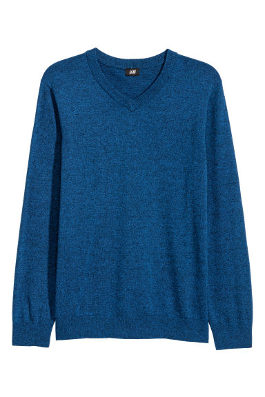 V-neck cotton jumper - Blue marl - Men | H&M