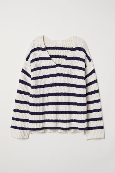 Ribbed jumper - Natural white/Dark blue stripe - Ladies | H&M