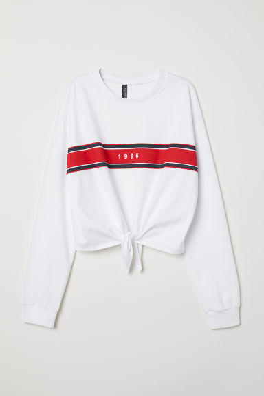 Tie-detail sweatshirt - White/1996 -  | H&M GB