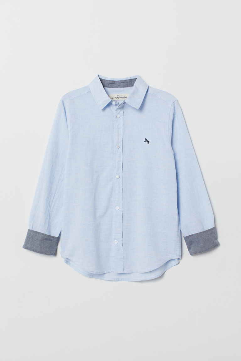 Cotton Shirt - Light blue melange - Kids | H&M CA