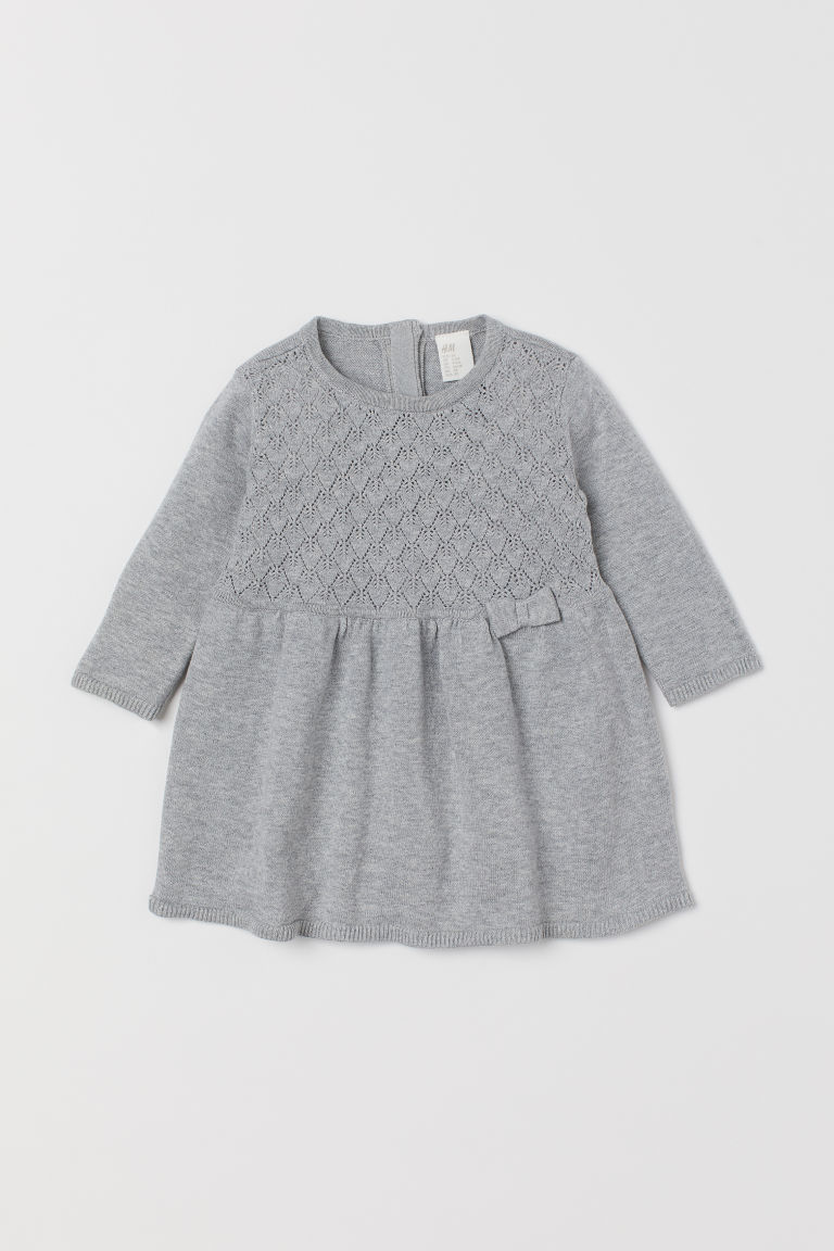 Fine-knit Cotton Dress - Light gray - Kids | H&M US