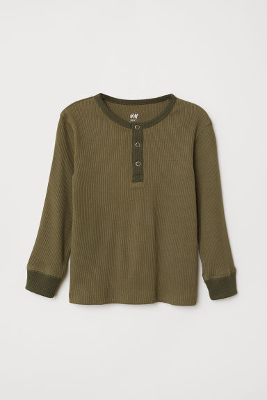 Ribbed Henley shirt - Khaki green - Kids | H&M CN