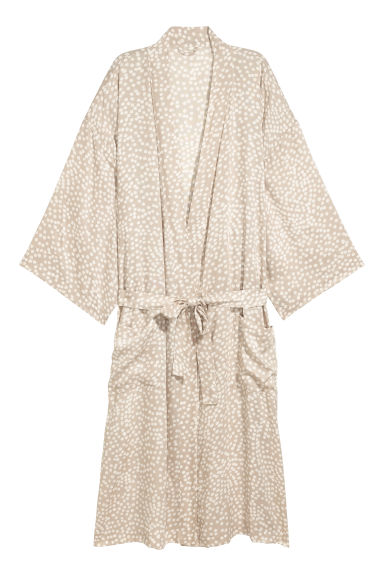 Viscose dressing gown - Light mole/White spotted - Home All | H&M CN