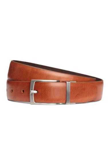 Reversible leather/suede belt - Cognac brown -  | H&M