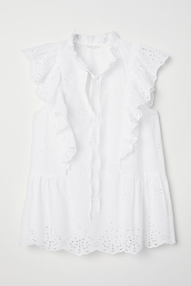 Embroidered Ruffled Blouse - White - Ladies | H&M US