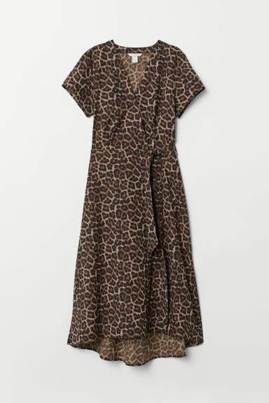 V-neck wrap dress - Beige/Leopard print - Ladies | H&M