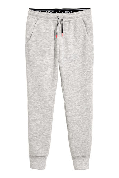 Joggers with a fold-down waist - Light grey marl - Kids | H&M CN