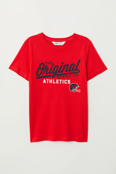 Printed T-shirt - Red/Athletics - Kids | H&M CN