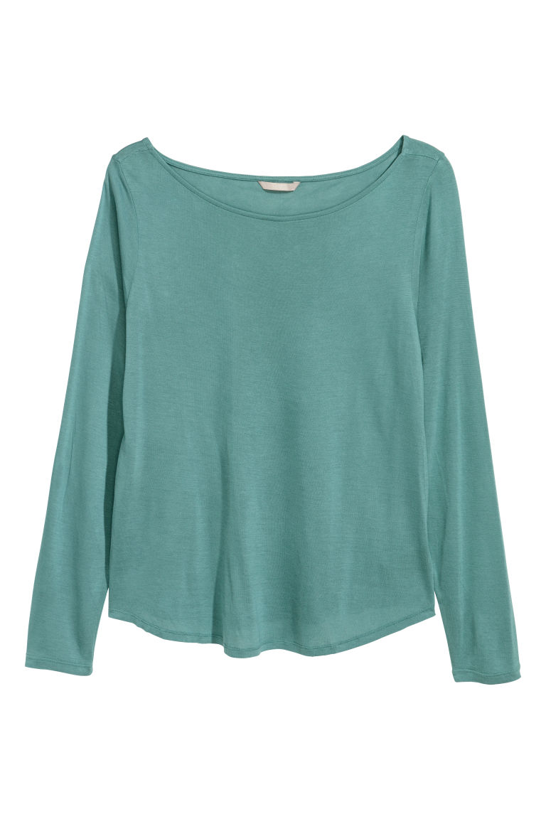 H&M+ Long-sleeved jersey top - Dusky green - Ladies | H&M GB