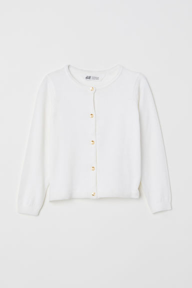 Fine-knit cardigan - White - Kids | H&M