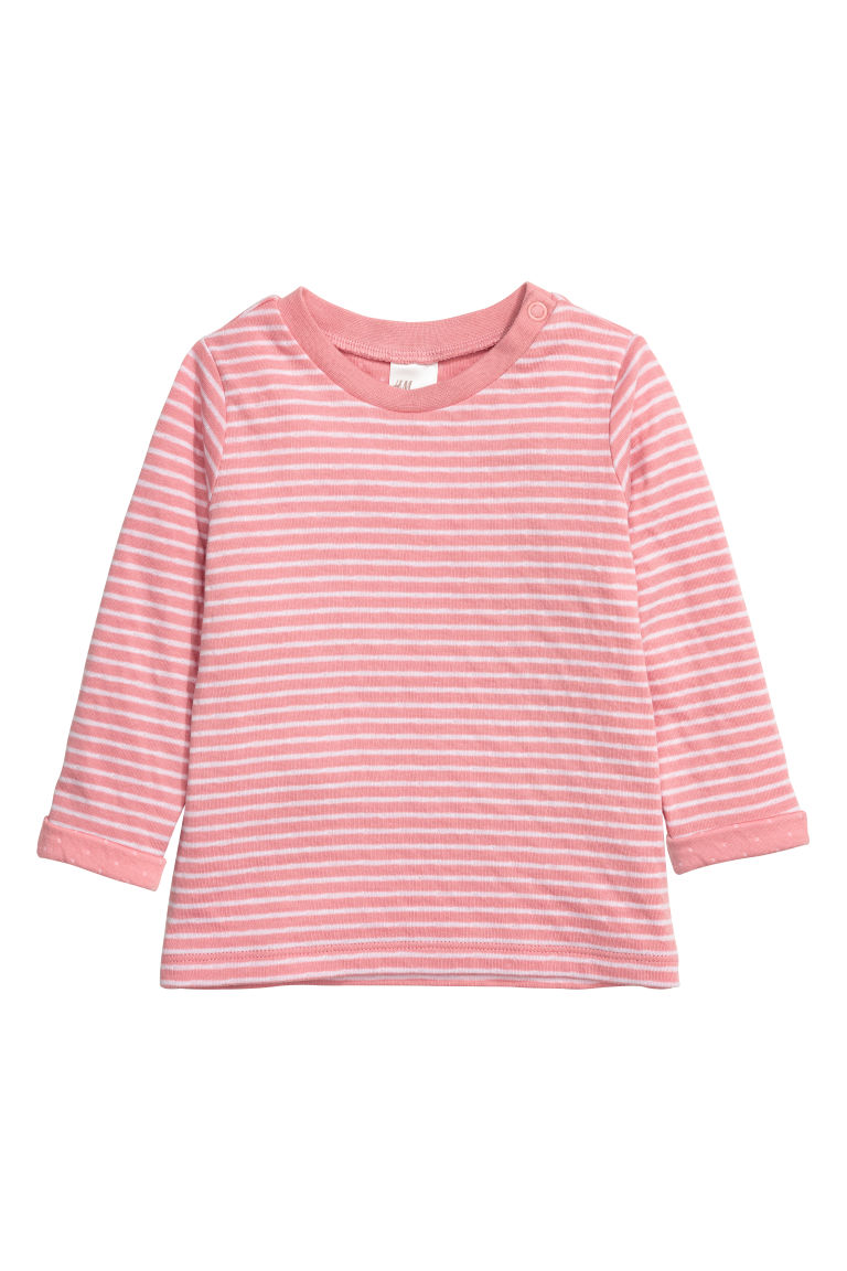 Long-sleeved cotton top - Light pink/Striped - Kids | H&M CN