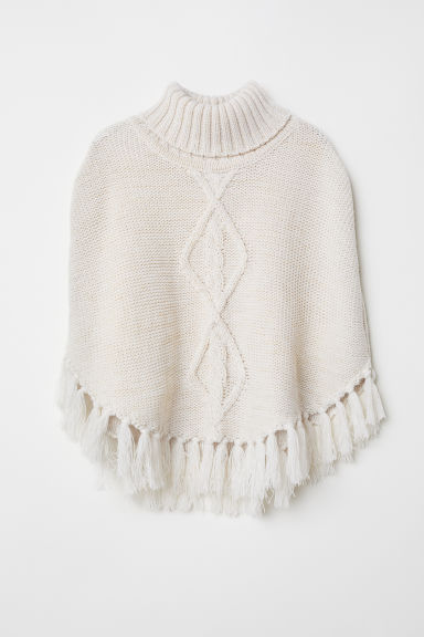 Knitted poncho - White/Glittery - Kids | H&M CN