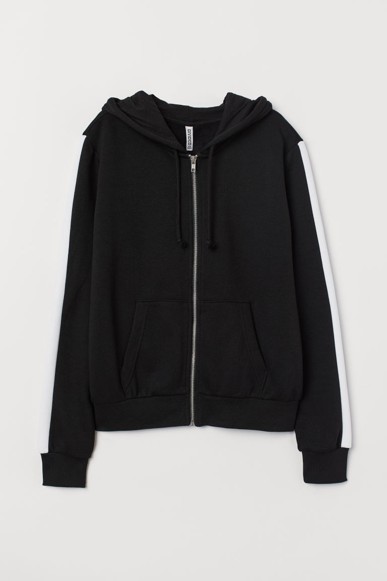 Hooded jacket - Black/White -  | H&M CN