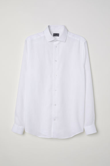 Linen Shirt Slim fit - White - Men | H&M CA
