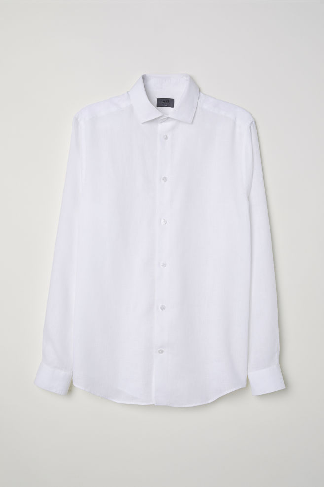 Linnen Overhemd Wit Heren.Linnen Overhemd Slim Fit Wit Heren H M Nl