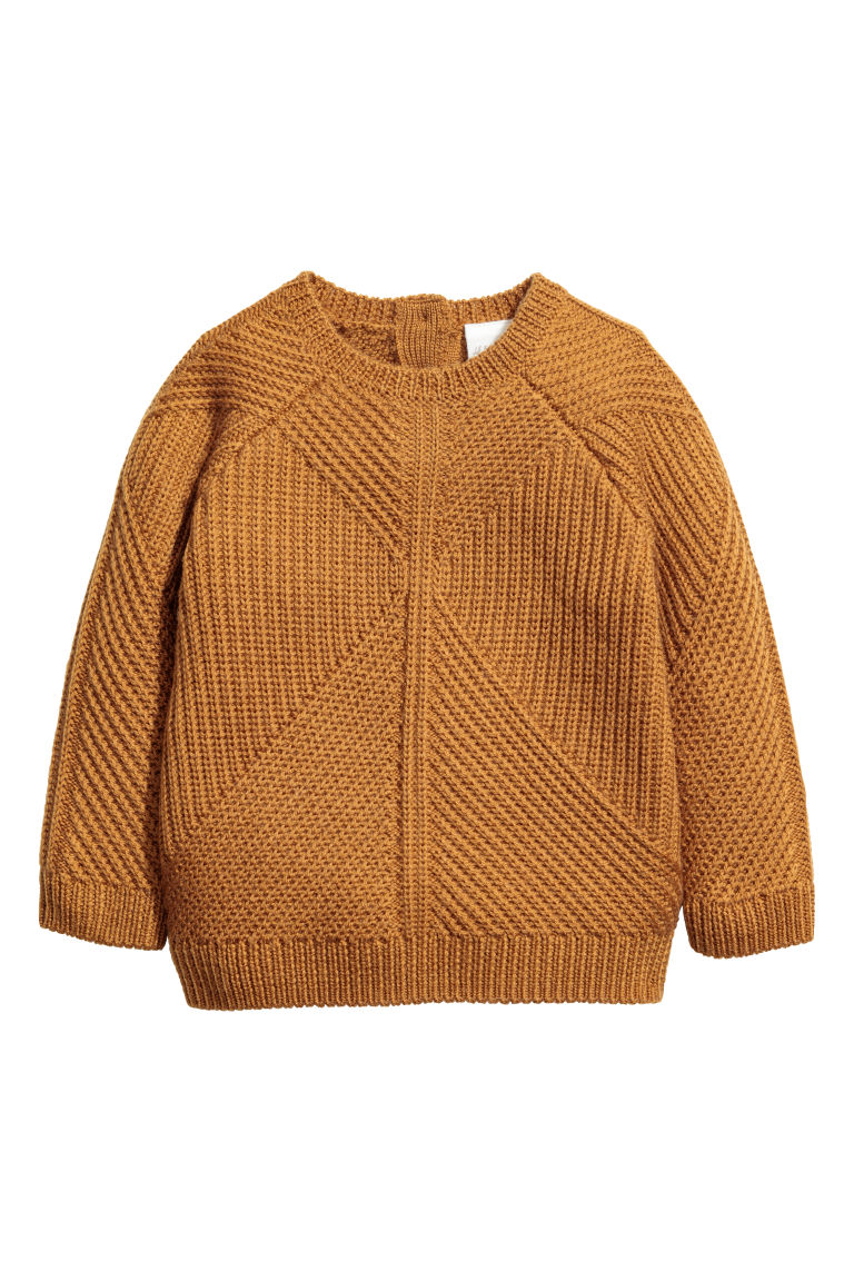 Textured-knit wool jumper - Camel - Kids | H&M CN