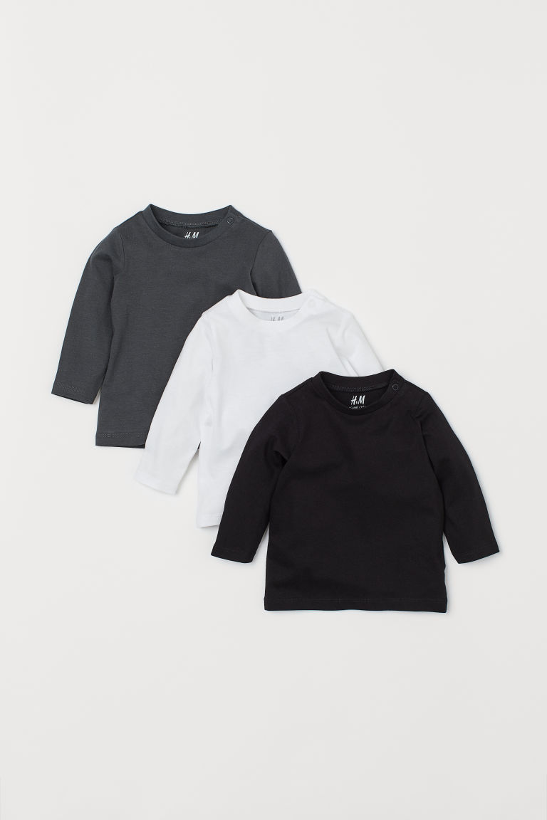 3-pack jersey tops - Black - Kids | H&M