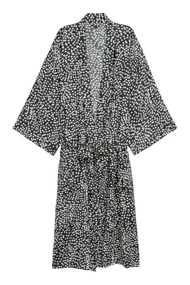 Viscose dressing gown - Black/White spotted - Home All | H&M CN