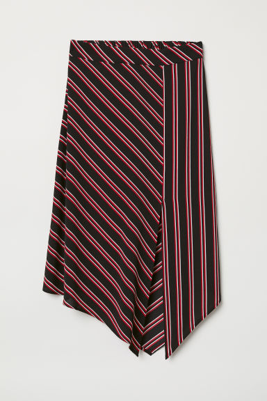Calf-length skirt - Black/Striped -  | H&M