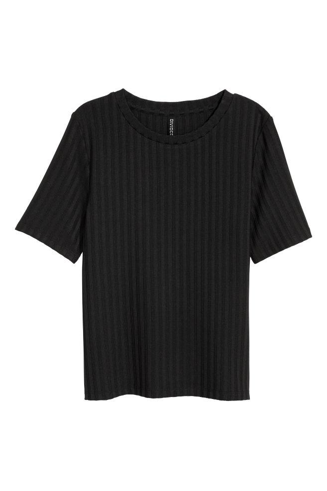 09dce1db00c574 Ribbed top - Black - | H&M 1