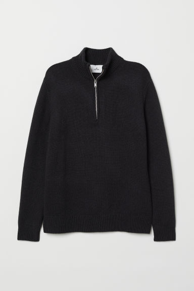 Knitted jumper with a collar - Dark blue - Men | H&M CN