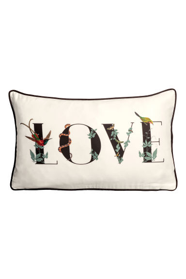 Copricuscino in satin - Bianco/Love - HOME | H&M IT