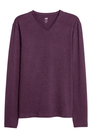 T-shirt Slim fit - Mauve chiné - HOMME | H&M FR