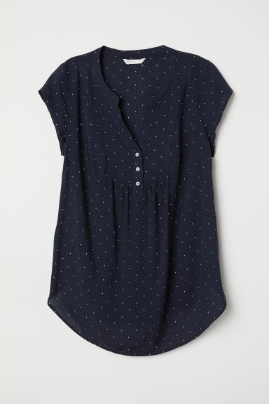MAMA Short-sleeved blouse - Dark blue/Spotted - Ladies | H&M CN