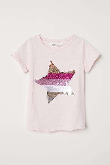 T-shirt with a motif - Pink/Star - Kids | H&M CN