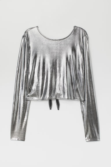 Top with V-neck Back - Silver-colored -  | H&M US